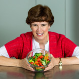 Wendy White holds a bowl of salad