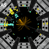 An image from the ATLAS detector showing a potential Higgs boson.