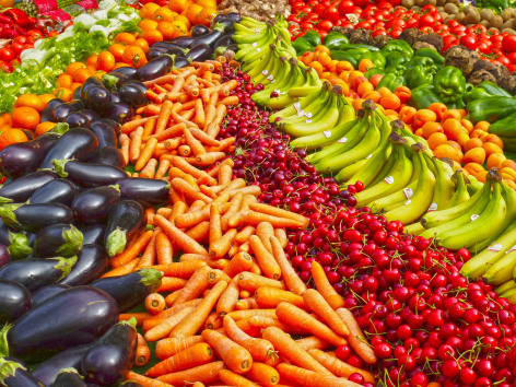 Rows of fresh fruits and vegetables