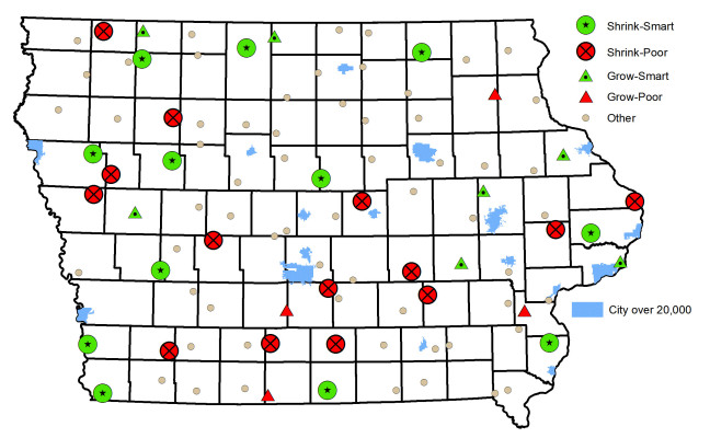 A map of Iowa pinpointing 12 shink-smart towns