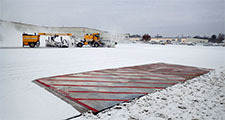 Segments of heated pavement at Des Moines airport
