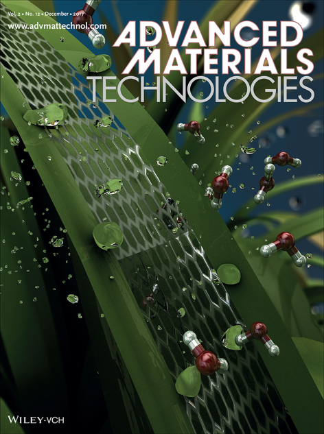 "December 2017 cover of the journal Advanced Material Technologies, with an illustration of ""plant tattoo sensors."""
