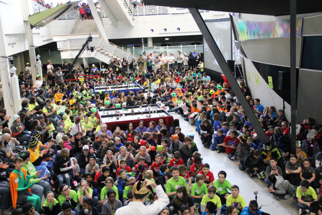 A huge crowd of students and their supporters gather for the Iowa FIRST LEGO® League State Championships.