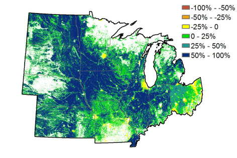 map showing carbon sequestration changes in Midwestern states
