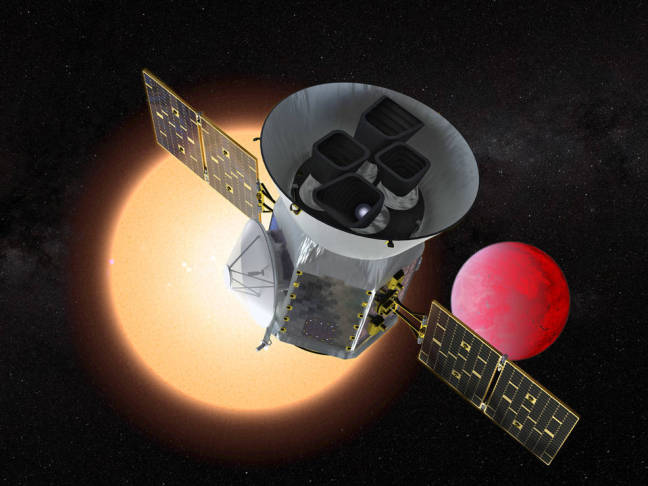 A NASA illustration of TESS in space