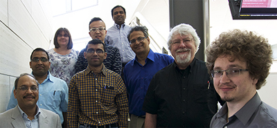 Balaji Narasimhan and other members of the diverse team studying nanovaccines for pancreatic cancer.