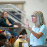 "Cinzia Cervato teaches ""GEOL 100: The Earth"" during the first week of the fall semester."