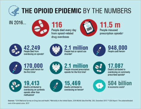 Infographic detailing cost and death related to opioid epidemic