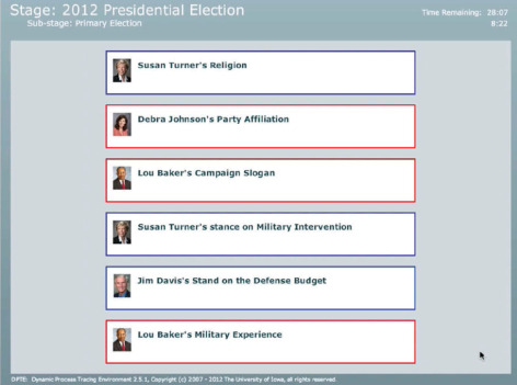 Screen shot of ballot for simulated election