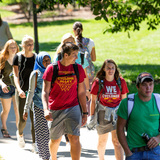 students walking on central campus