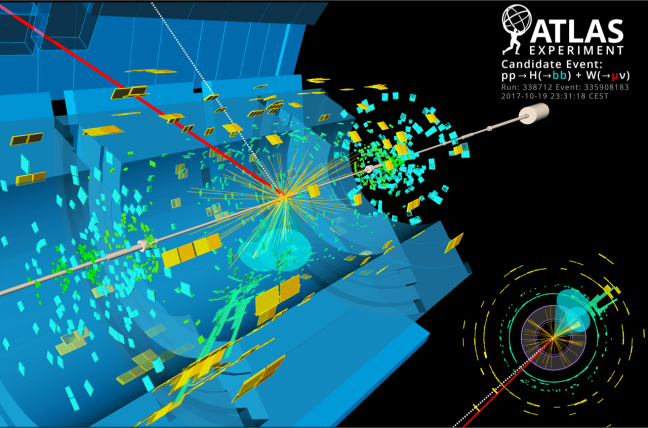 ATLAS experiment event display showing a Higgs boson decaying into a pair of bottom quarks