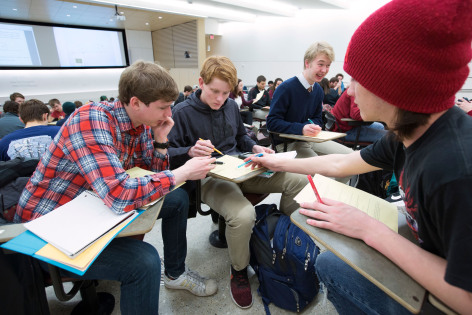 Students work as a team on calculus problems