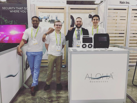 Members of the Aloha Boomboxes team at the Consumer Electronics Show