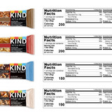 Four different KIND granola bars with nutritional information