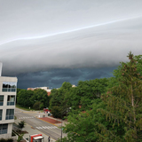 A thunderstorm's shelf cloud approaches the Iowa State campus.