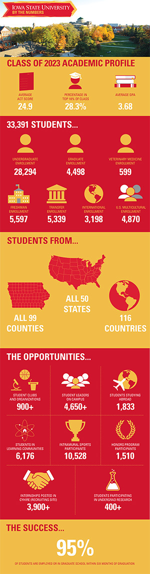Graphic with breakout numbers about student body