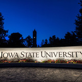 Iowa State Wall and Campanile at night