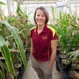 Alison Robertson in a greenhouse at Iowa State University