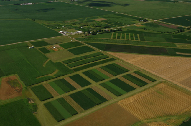 Aerial photo of ISU research farm where various crop rotations are grown