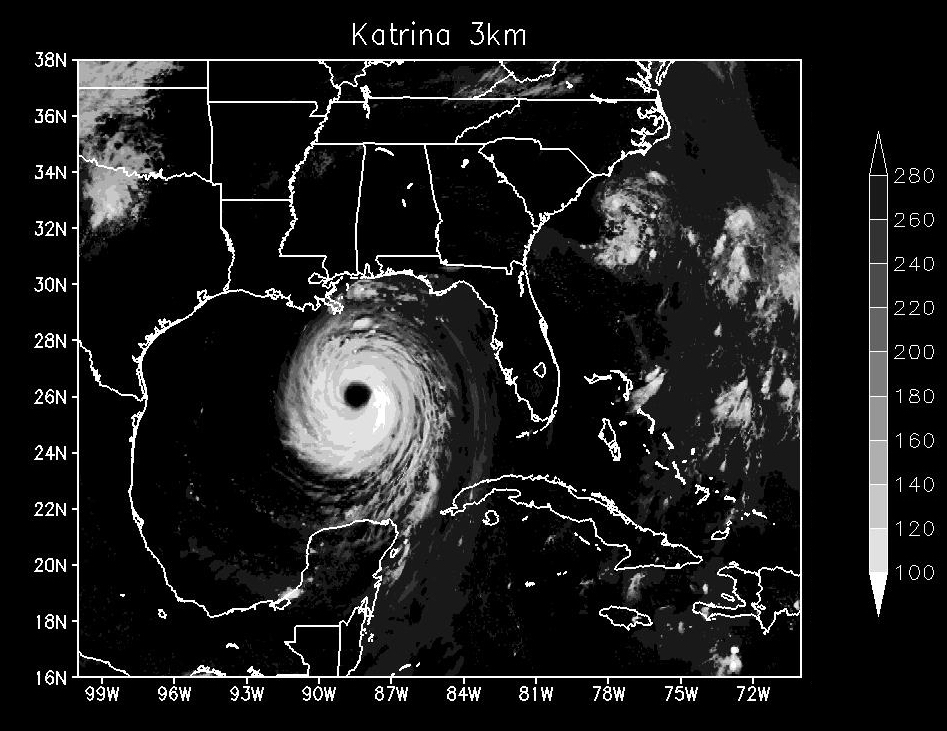 Climate model simulation of Hurricane Katrina