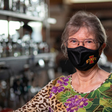 Marit Nilsen-Hamilton wears a face covering in her laboratory at Iowa State