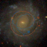 This image shows how massive clusters in galaxies scatter some stars from their circular orbits.