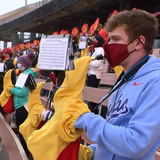 Marching band practicing at Jack Trice