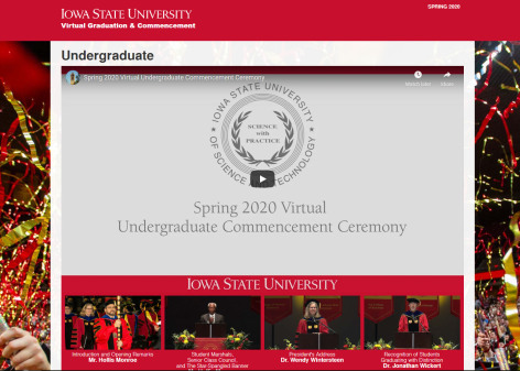 Screenshot of spring commencement virtual ceremony