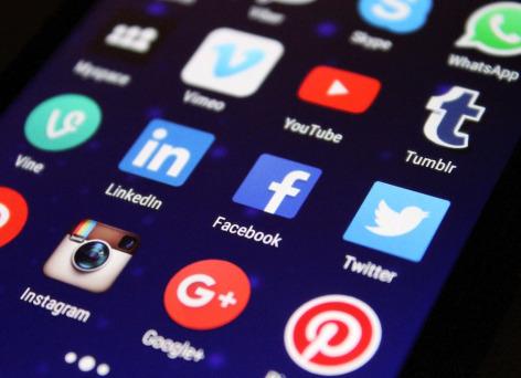 Screen with social media logos
