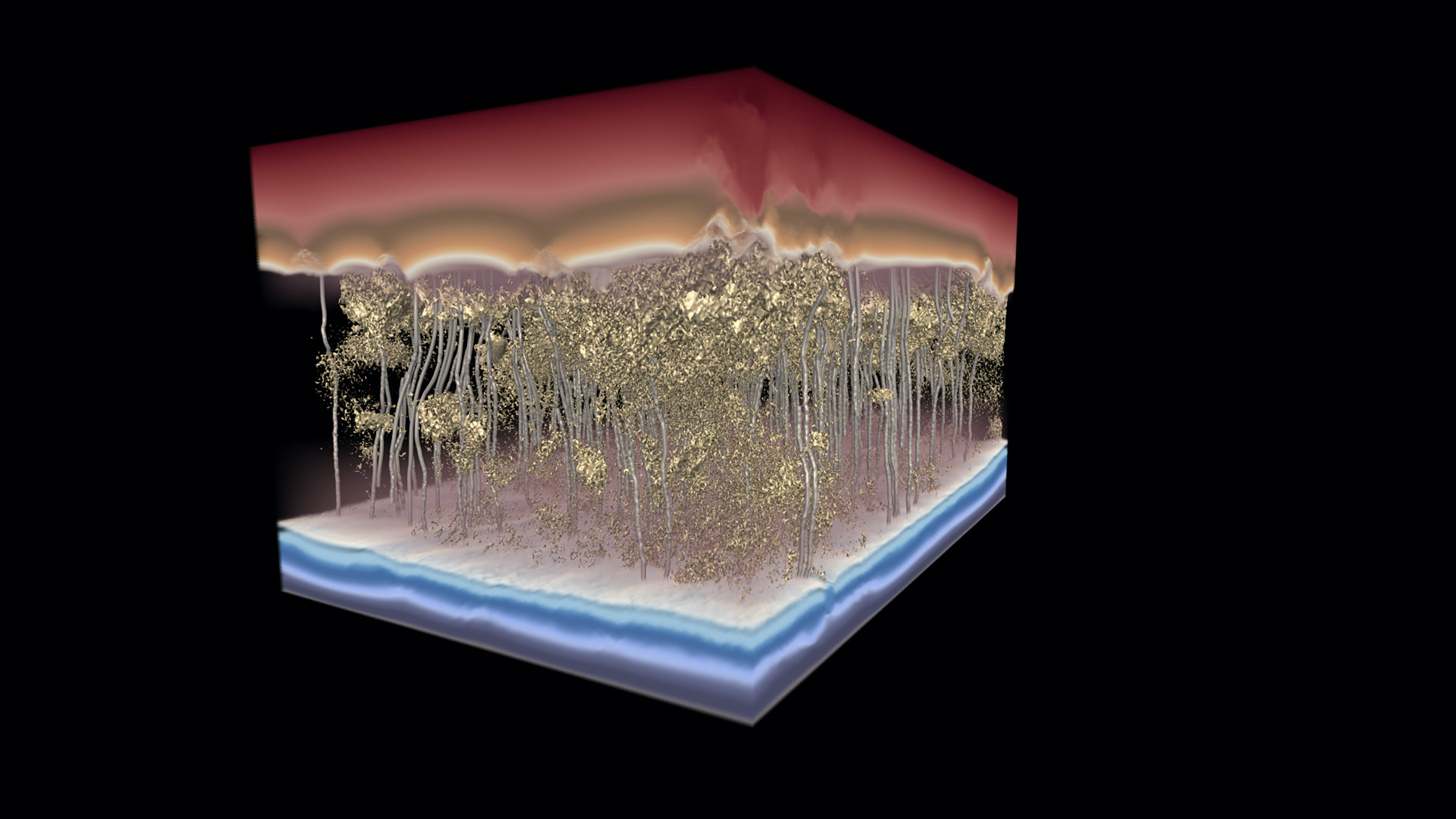A 3D simulation image showing water flowing through a polymer desalination membrane,