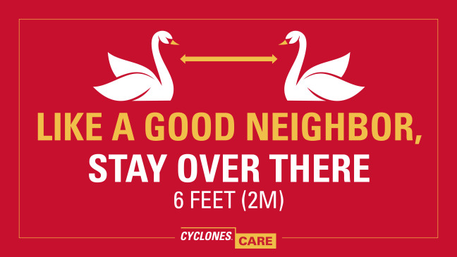 Cyclones Care image with swans and like a good neighbor line