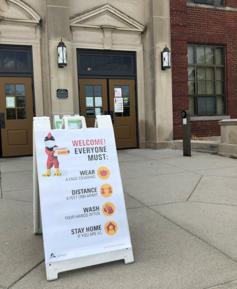 Signage outside Ames city hall promoting cyclones care behaviors