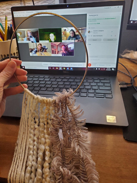 Students in learning community create a macrame craft