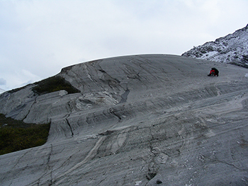 A researcher at Schwarzburg Glacier in the Swiss Alps.
